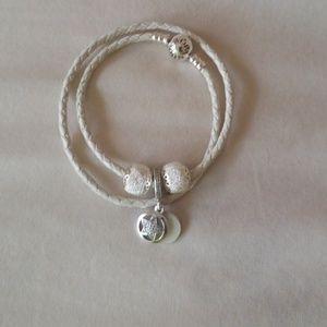 Jewelry - Pandora  leather bracelet 3 charms